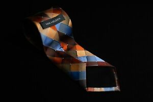 "Van Heusen Silk Blend Men's Tie Diamond Fall Colors 58""L x 3.2""W"