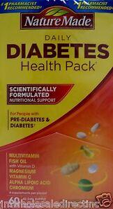 Nature Made Diabetic Health 60 packs of 5 Multivitamin Fish Oil Magnesium C