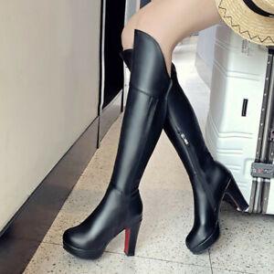 UK Ladies Knee High Boots Block Heels Platform Zipper Autumn Casual Party Shoes