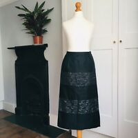Vintage 1950s Black Satin Lace Long Wiggle Pencil Pin-Up Skirt 8