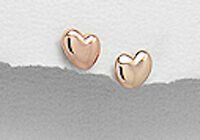 18k Rose Gold Plated Over Solid Sterling Silver Puff Heart Stud Earrings Vermeil
