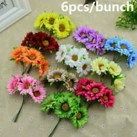6X Artificial Silk Gerbera Daisy Flower Fake Bouquet Wedding Home Fashion I5H0