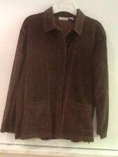 J JILL Washed Wide Wale Corduroy Getaway Jacket Sz XS Chocolate Brown Pockets