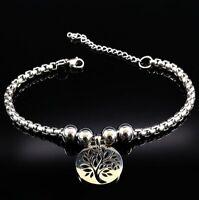 Damen Armband Armkette Edelstahl Baum des Lebens Anhänger Lebensbaum