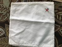 4 White Cotton Napkins with Hand Embroidered Cross Stitch Design in corners 10""