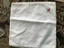 """4 White Cotton Napkins with Hand Embroidered Cross Stitch Design in corners 10"""""""