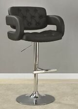 Black and Chrome Adjustable Height Bar Stool Chair by Coaster 102555
