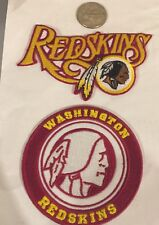 "(2)-Washington Redskins vintage embroidered iron  on Patches 3x3""/3 1/2""x 2 1/2"""