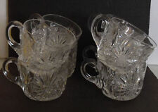 Beautiful Hand Cut Lead Crystal Glass Etched Floral 8 Punch Mug Coffee Tea Cup