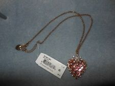 Betsey Johnson Pink crystal heart pendant necklace NWT