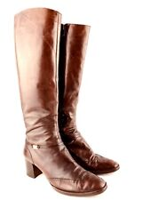 Salvatore Ferragamo Tall Boots Womens 7 Brown Leather  High Heel Oxford Riding