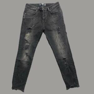 Mens Sik Silk Siksilk Skinny Stretch Ripped Denim jeans Black MEDIUM W32 L31 L14