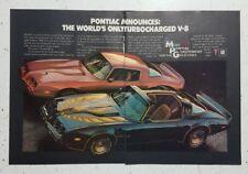 1980 Pontiac Trans-Am + Formula Firebird Turbo V-8 Original 2 Page Magazine Ad