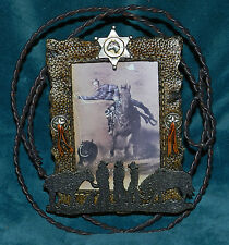 NEW PRIMITIVE WESTERN COWBOY PHOTO FRAME!! SHERIFF STAR, ROPE! UNIQUE