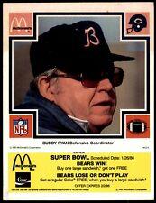 1985 SUPER BOWL YELLOW Buddy Ryan HOF COACH Chicago Bears RARE TEST MCDONALD'S