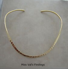 2  neckwire necklace gold plated plain hammered choker base