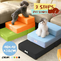 2 Step Pet Dog Stairs Dog Cat Sofa Bed Chair Climb Folding Ramp Ladder