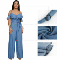 Sexy Women Backless Blue Jeans Denim Romper Jumpsuit Casual Loose Pants Ruffle