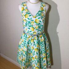 Elle Womens Size 10 Retro Lemon Print Sleeveless V Neck Dress Yellow And Green