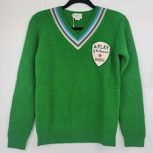 Gucci Kid's Green Wool Knit Abnormal Patch Pullover Sweater 12J 565834 3231
