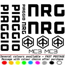 PIAGGIO NRG MC3 calcomanías/Sticker Set-Alta Calidad De Vinilo Negro Rojo Azul etc