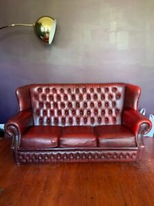 3 Seater Antique Oxblood Chesterfield Sofa