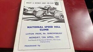 LOTON PARK---NATIONAL SPEED HILL CLIMB---PROGRAMME---12TH APRIL 1971