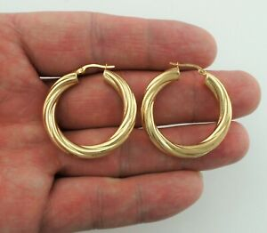 9ct Gold Chunky Twisted Round Hoop Creole Earrings 35mm