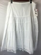 Clothing Co by Notations White Skirt Size XL Polka Dot Lace Cotton Boho NWT