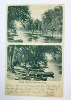 Canoe Scene New York NY Syracuse Onondaga Lake Long Branch Postcard Boating
