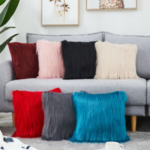 Faux Fur Fluffy Cushion Cover Furry Soft Scatter Pillow Case Home Decor Sofa