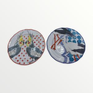 Anthropologie Bird Plates Love Birds Seagulls Sea Indonesia Cocatoos Polka Dot