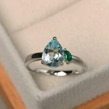 9x7mm Pear Cut Aquamarine & Emerald Unique Engagement Ring 14K White Gold Over