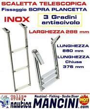 SCALETTA TELESCOPICA IN ACCIAIO INOX AISI 316 PER PLANCETTA 3 GRADINI LARGA 30CM