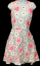 Chloe Dress White Hot Pink Embroidered Flowers Size 36(2) NWT