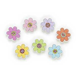 30pcs Flower Shape Wood Buttons for Sewing Scrapbooking Clothing Gift Decor 20mm