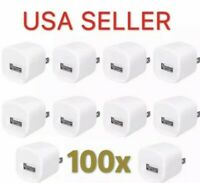 100 White 1A USB Power Adapter AC Home Wall Charger US Plug FOR iPhone 5S 6 7 8