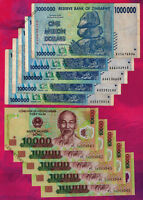 5 X 1 MILLION ZIMBABWE DOLLARS BANKNOTES + 5 X 10,000 VIETNAM DONG CURRENCY VND
