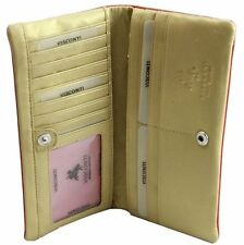 Visconti CSM6 Ladies Large Soft Leather Red Gold Checkbook ID Wallet Purse Case