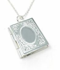 *uk* 925 Silver Plt Open Novel Book Photo Picture Locket Pendant Necklace Ladies