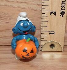 Vintage Peyo 1981 Schleich Halloween Smurf Holding Pumpkin PVC Figurine Only