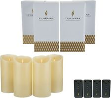 Luminara 7 inch Flameless Candles with Remotes and Boxes - Set of Four Ivory