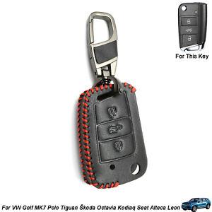 3 Button Leather Key Case Fob Bag for VOLKSWAGEN VW Golf7 Polo Passat SKODA SEAT
