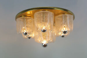 X- Large Flush Mount Ceiling Light by DORIA - Germany, Heavy Ice-Glass / Brass