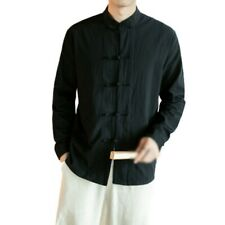 Mens Long sleeve Casual Shirt Chinese Style Stand Collar Blouses Leisure Plain L