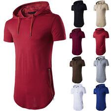 Men Gym Bodybuilding Sport Hoodie Vest Top Muscle Hooded T-Shirt Short Sleeve