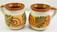 Hand Thrown Studio Pottery Coffee Mugs Terracotta Tuscany Aztec Handpainted