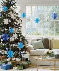 6pcs Large 3D Snowflake Hanging Bunting Papergarland FrozenXMAS Party Decoration