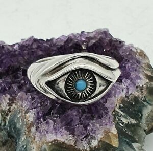 Vintage 925 Silver Turquoise Eye Ring  - Size Q