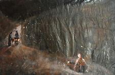 Contemporary European gouache painting abstract figures